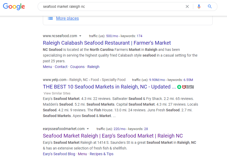 SEO results page 1